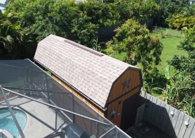 No job too small!! Little Gambrel Roof replacement on our customers shed. Architectural Shingle - Tamko : Desert Sand